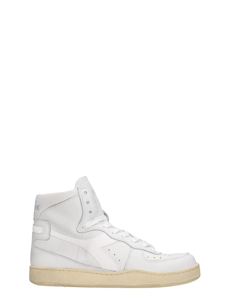 Diadora Basket Used Sneakers In White Leather - white