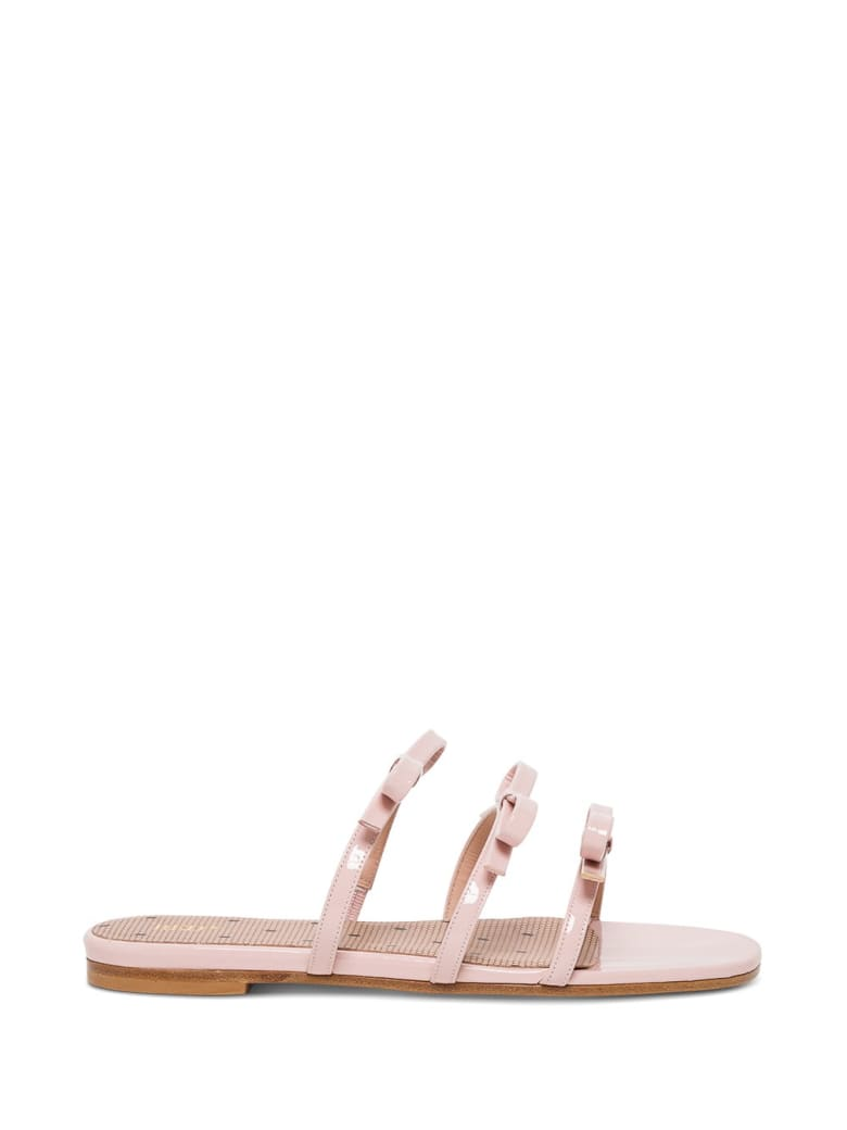 RED Valentino Patent Leather Sandals With Bows Detail - Pink