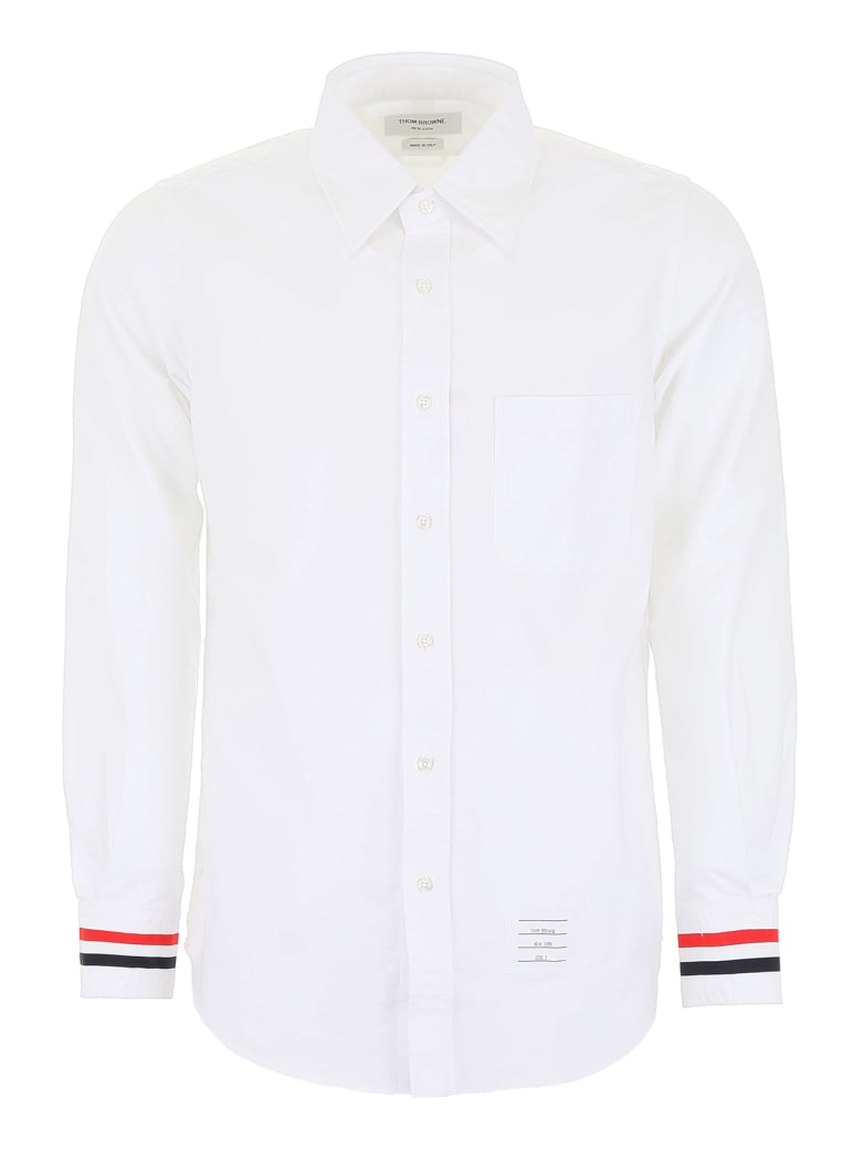 Thom Browne Shirt With Tricolor Band - WHITE (White)