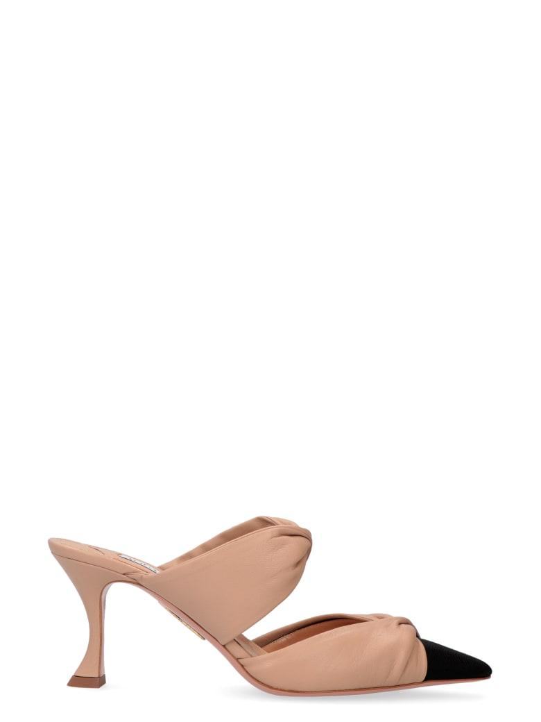 Aquazzura Twist Leather Mules - skin