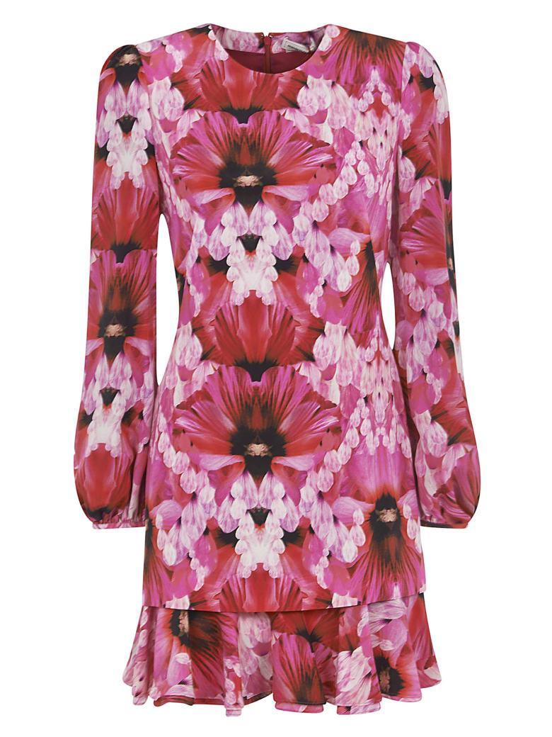 Alexander McQueen Floral Print Short Dress - Orchid pink