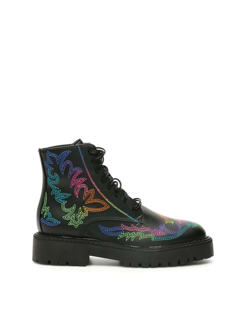 Dawni Western Rainbow Combat Boots - BLACK (Black)