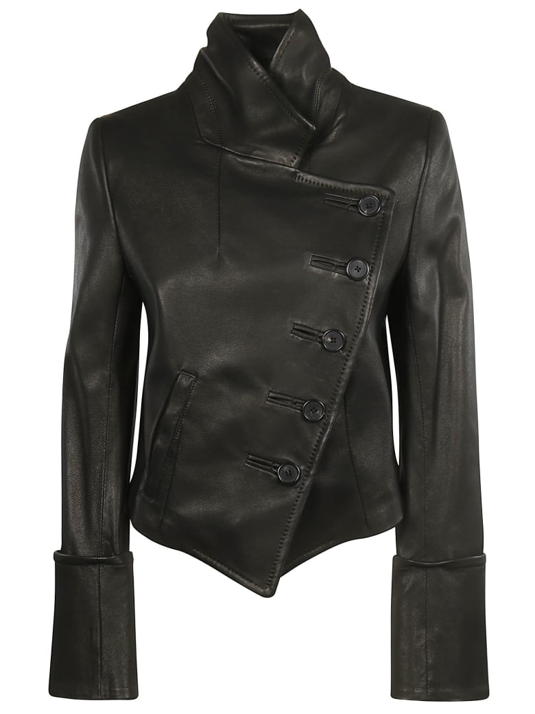 Ann Demeulemeester One Sided Buttoned Leather Jacket - Sabine Black
