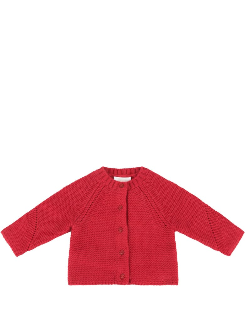 Chloé Red Cardigan With Logo For Baby Girl - Bordeaux