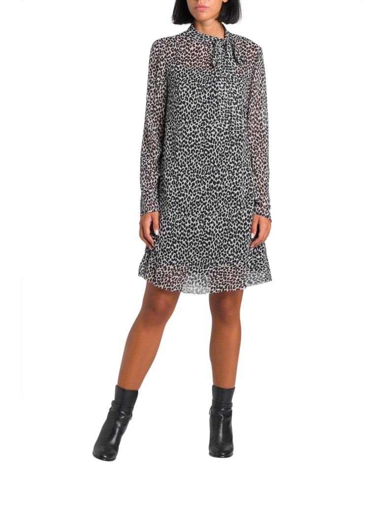 RED Valentino Animalier  Short Dress In Muslin - Bianco/nero