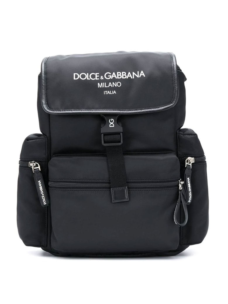Dolce & Gabbana Black Backpack With Side Pockets And White Logo Dolce&gabbana Kids - Nero