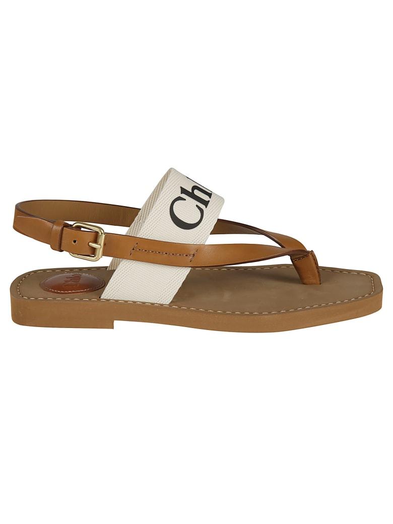 Chloé Ankle Logo Flat Sandals - White