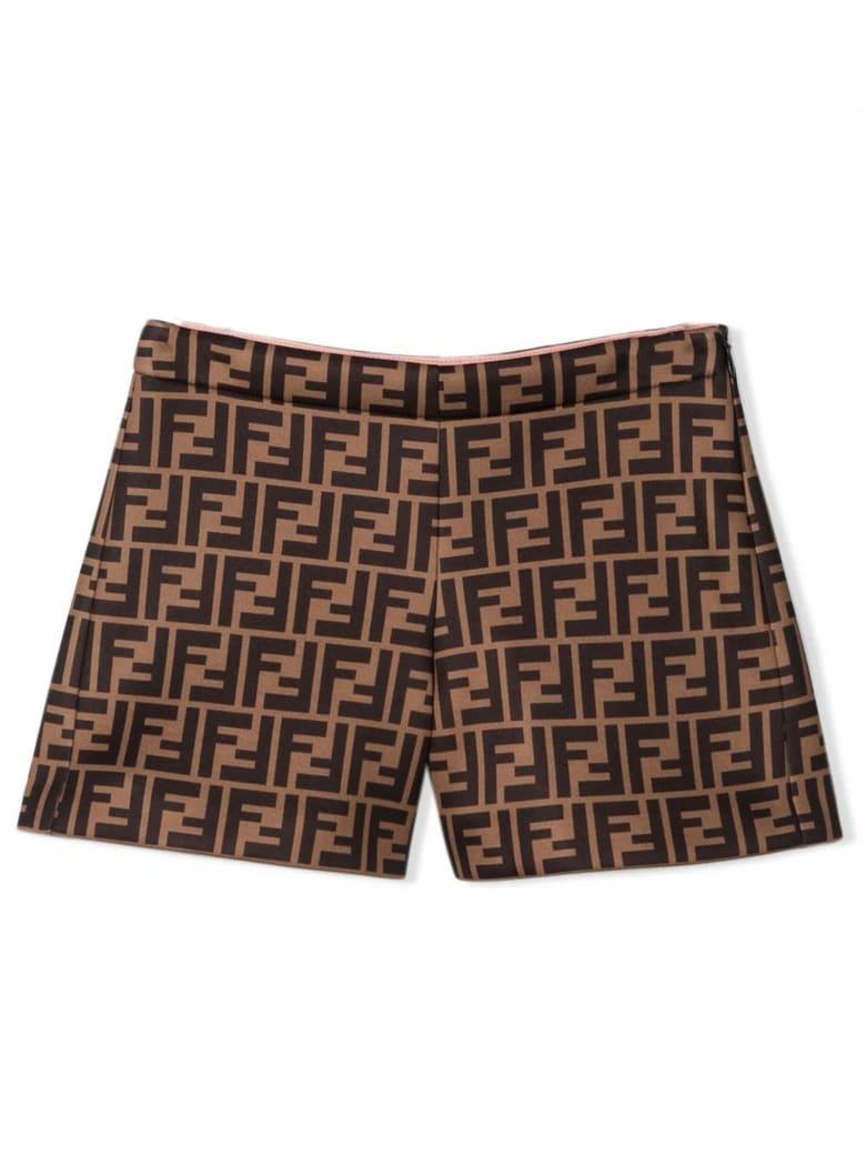 Fendi Brown Ff Shorts - Nocciola+marrone