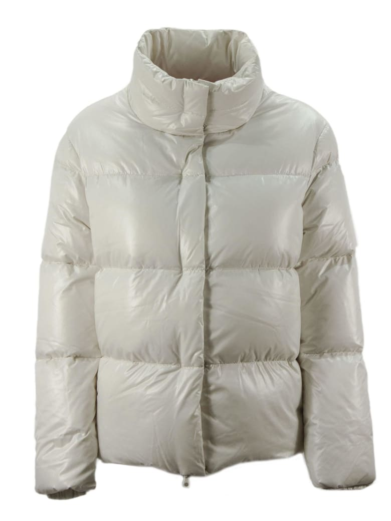 Duvetica Alane White Shiny Nylon Down Jacket. - Panna