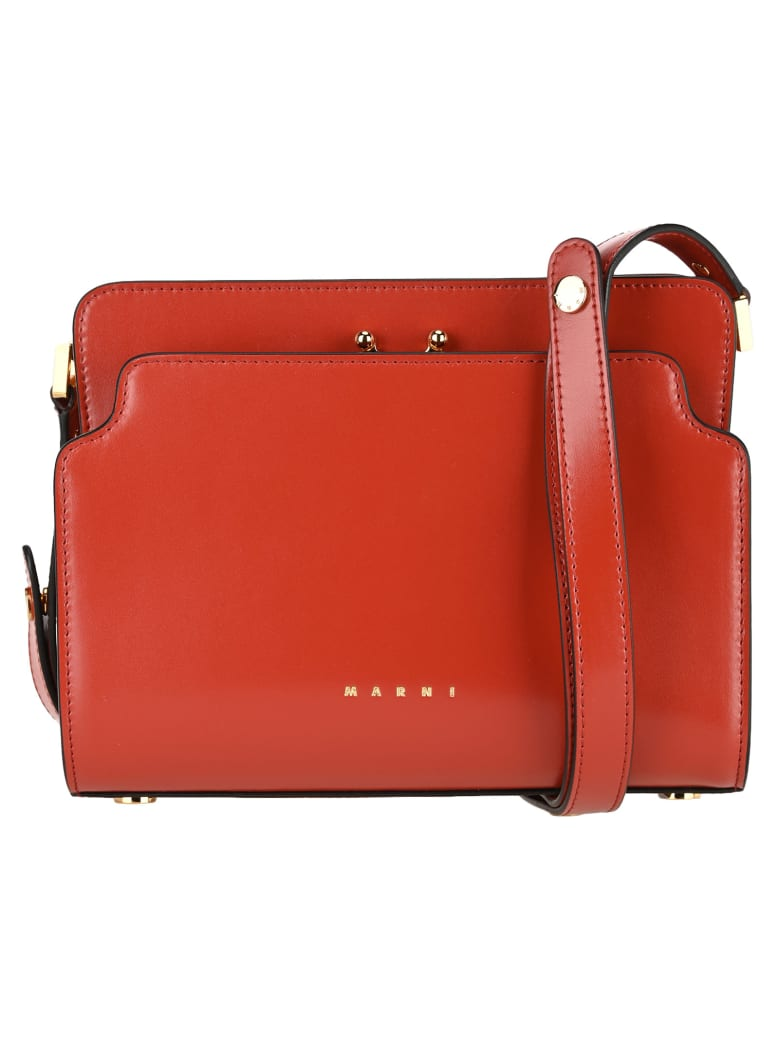 Marni Trunk Reverse Shoulder Bag - RUST RED