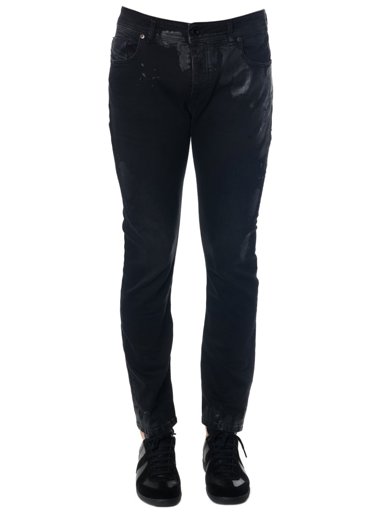 Diesel Black Gold Black Skinny Resin Spots Jeans - Black
