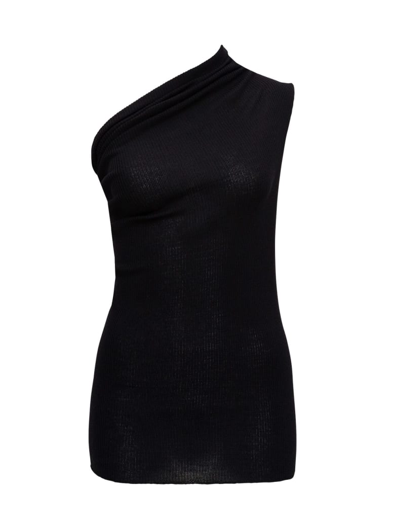 Rick Owens One Shoulder Top In Ribbed Knit - Black