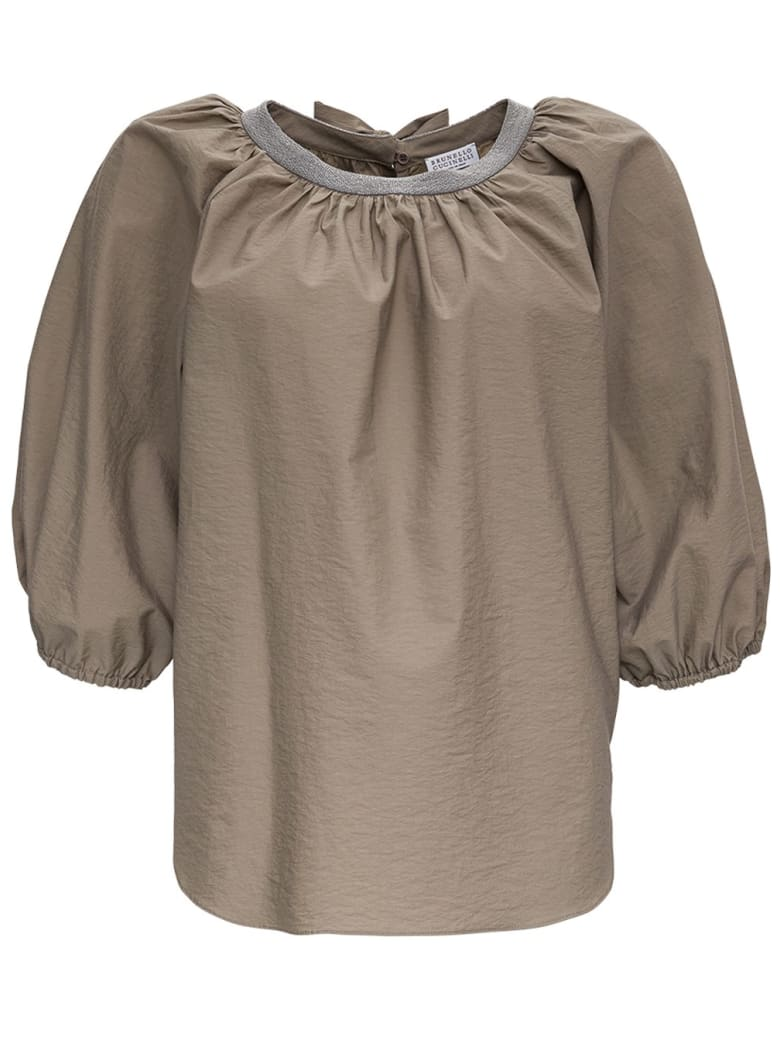 Brunello Cucinelli Cotton Blouse With Puff Sleeves - GREY