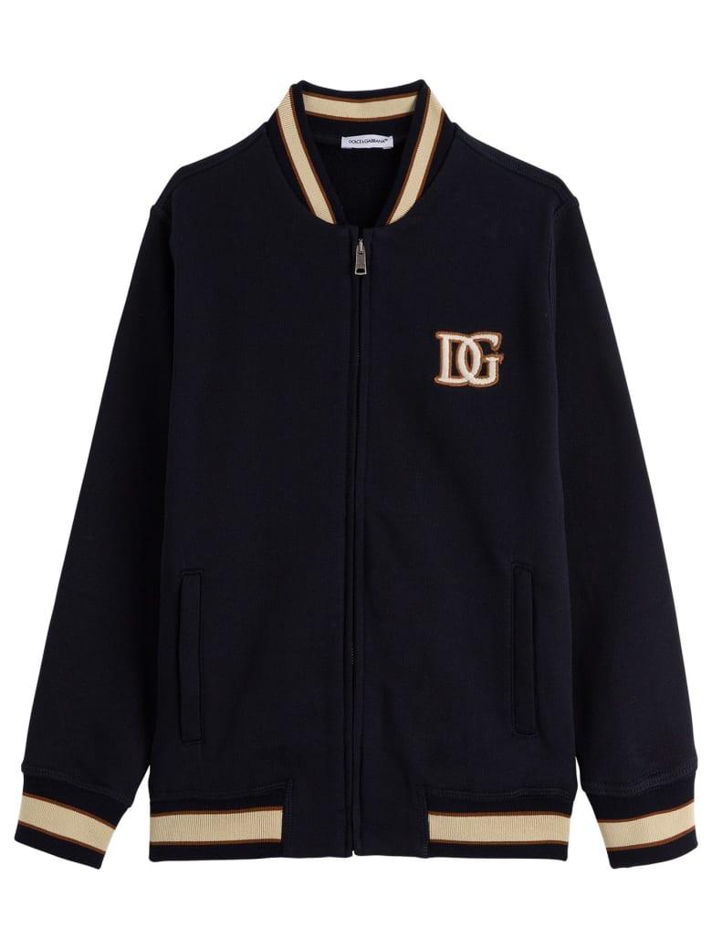Dolce & Gabbana Cotton Sweatshirt With Logo Patch - Blu