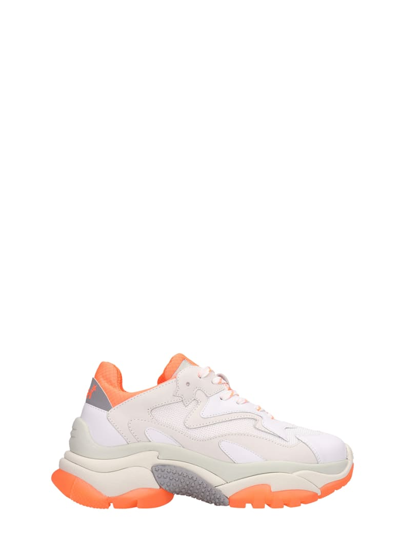 Ash Addict Trainers White Orange Leather And Mesh - white