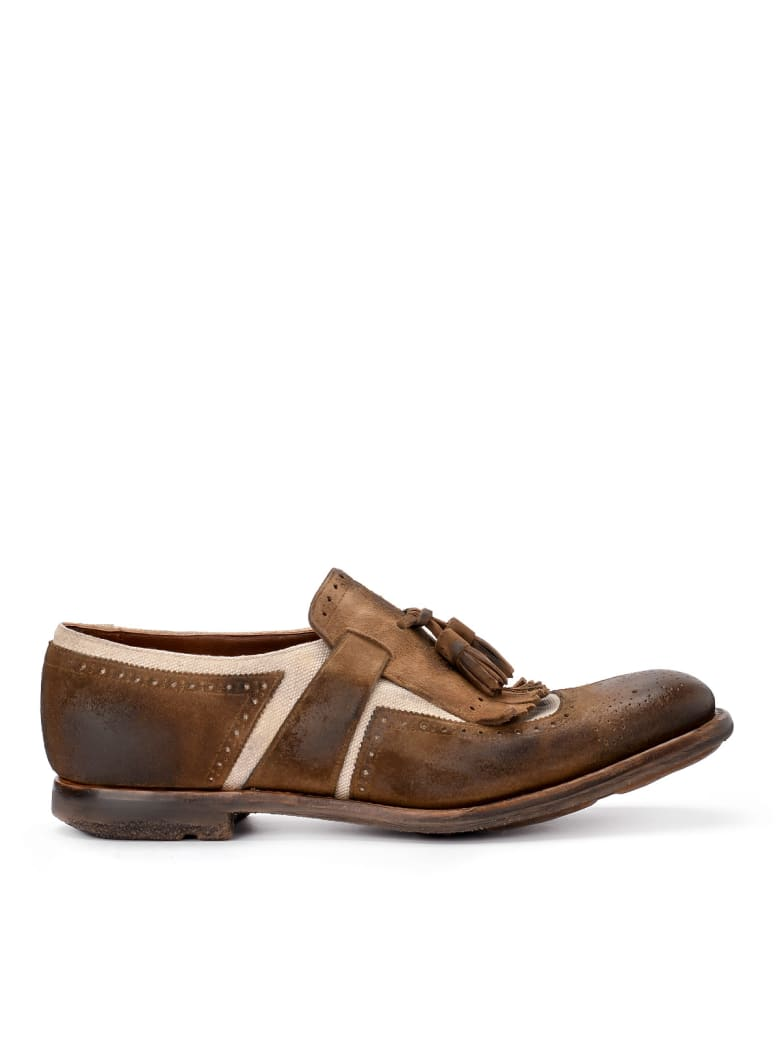 Church's Shanghai Brown Suede And Linen Loafer - MARRONE