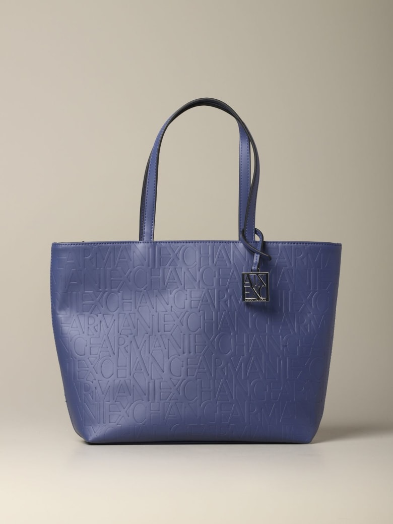 Armani Collezioni Armani Exchange Tote Bags Armani Exchange Shopping Bag In Logoed Leather - blue