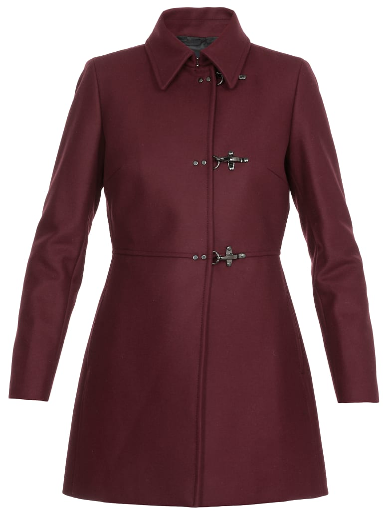 Fay Wool And Cashmere Coat - BURGUNDY