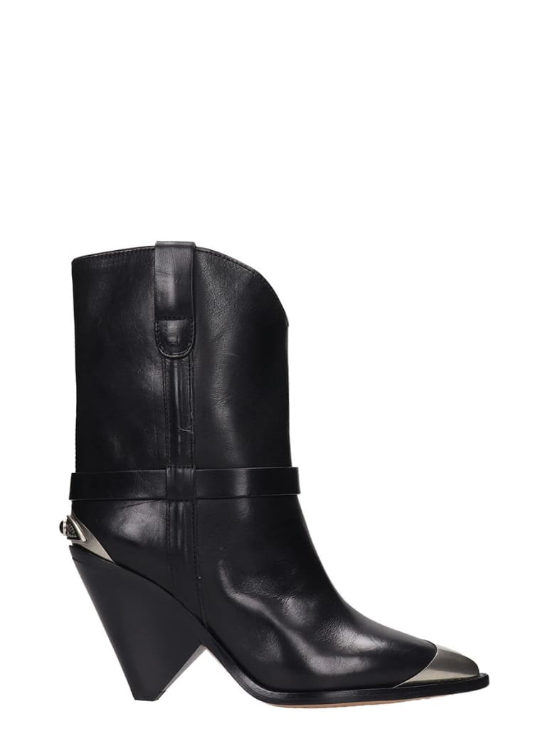 Isabel Marant Lamsy High Heels Ankle Boots In Black Leather - black