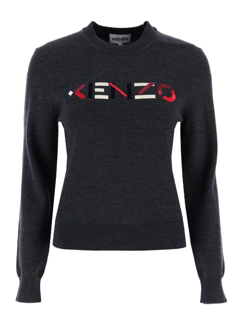 Kenzo Logo Embroidery Sweater - Grigio scuro