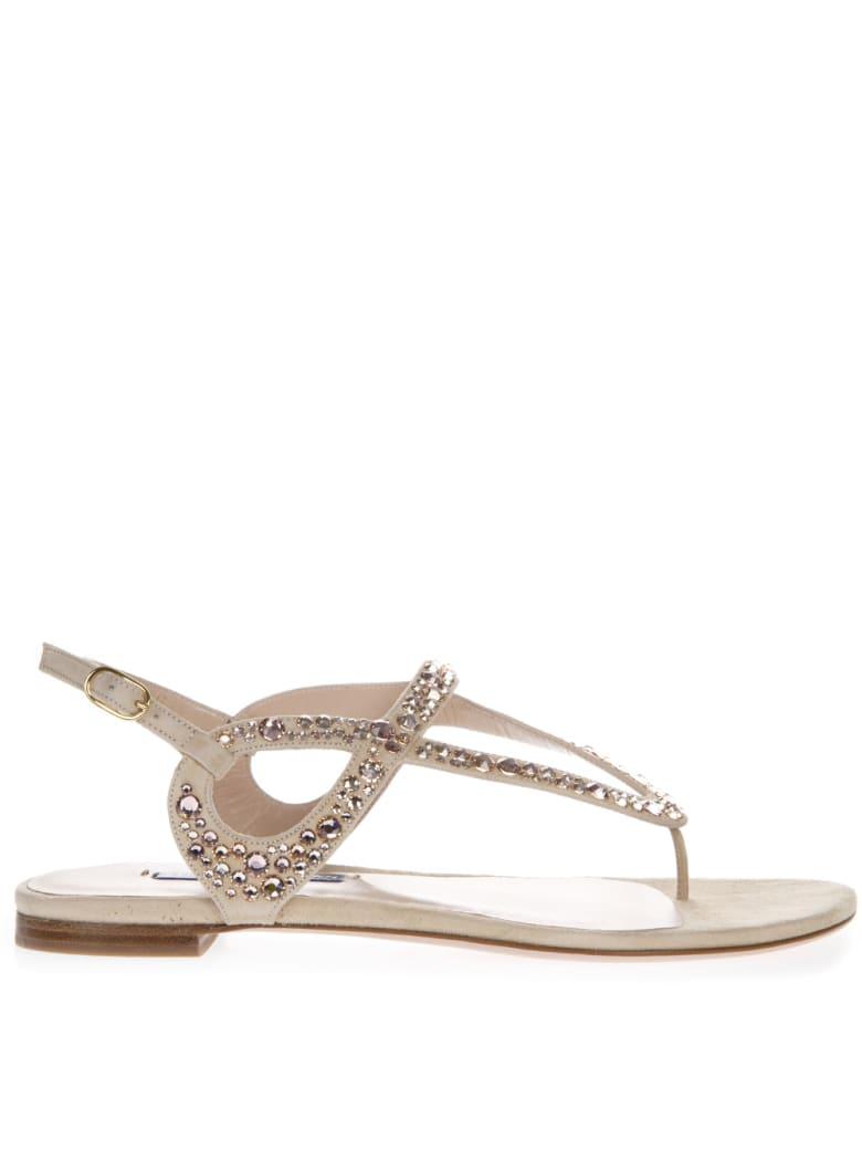Stuart Weitzman Embellished Allura Beige Suede Sandals - Beige
