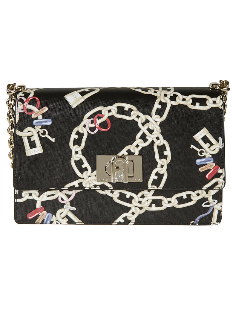 Furla Chain Printed Shoulder Bag - black