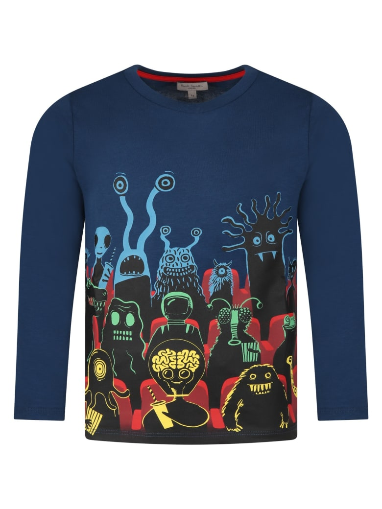 Paul Smith Junior Blue T-shirt For Kids With Monster - Blue