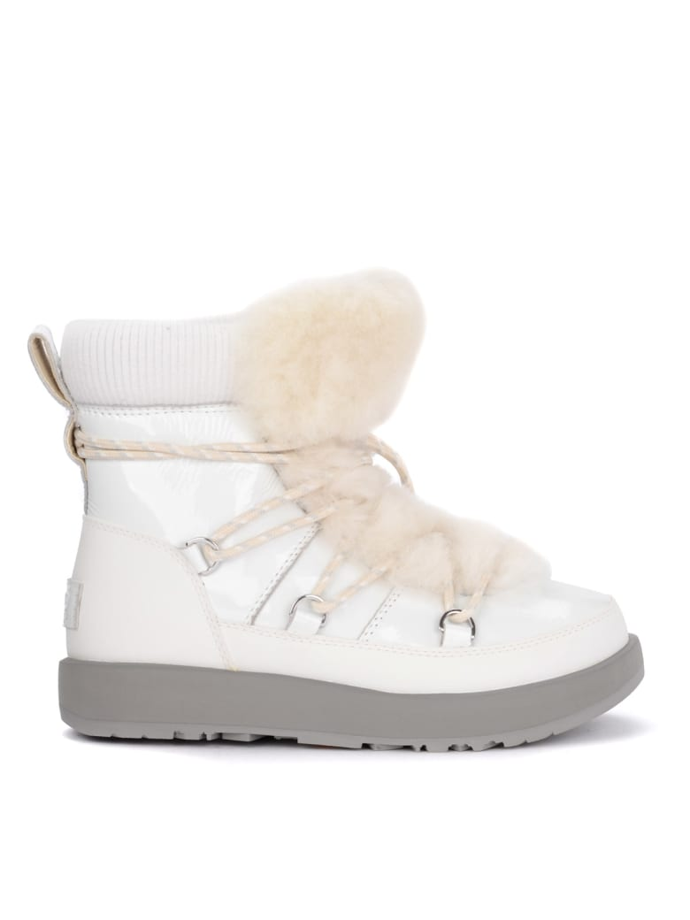 UGG Highland White Leather, Rubber And Sheepskin Ankle Boots. - BIANCO