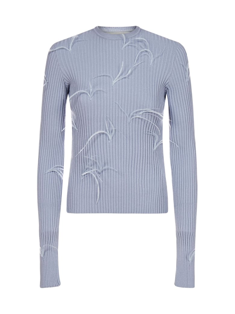 Marques'Almeida Feather-embellished Viscose-knit Sweater - Light blue