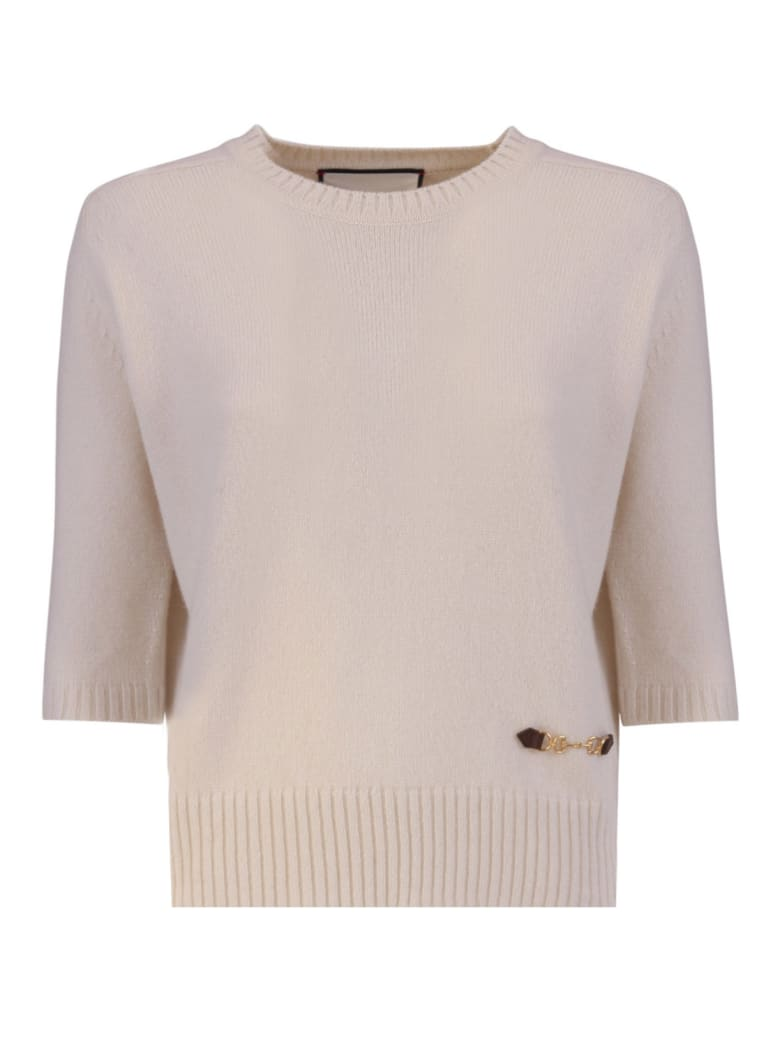 Gucci Cashmere Top With Horsebit - BIANCO