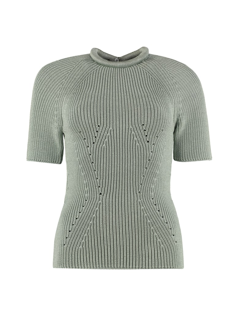 Fendi Ribbed Crew-neck Pullover - green
