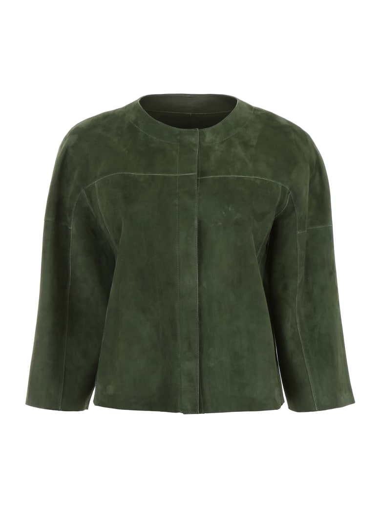 DROMe Reversible Leather Jacket - SUNSET PALM (Green)