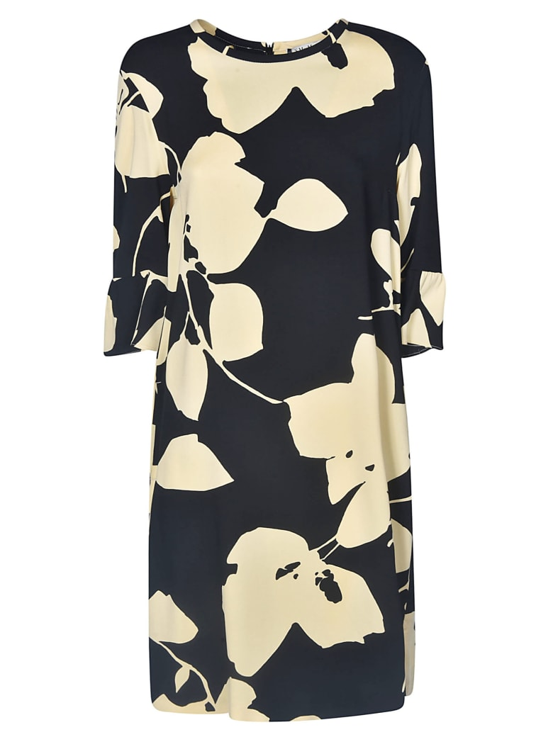 Max Mara The Cube Leafy Print Dress - Black/Cream
