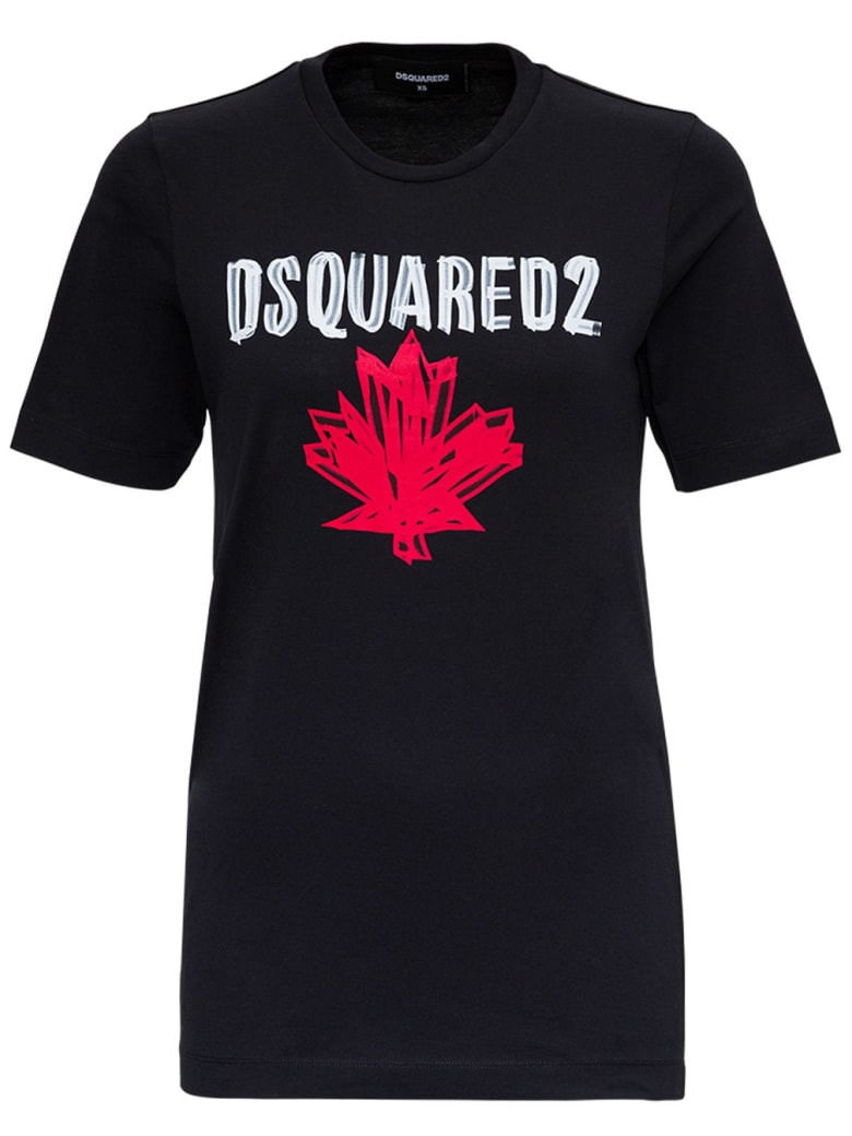 Dsquared2 Cotton T-shirt With Print - Black