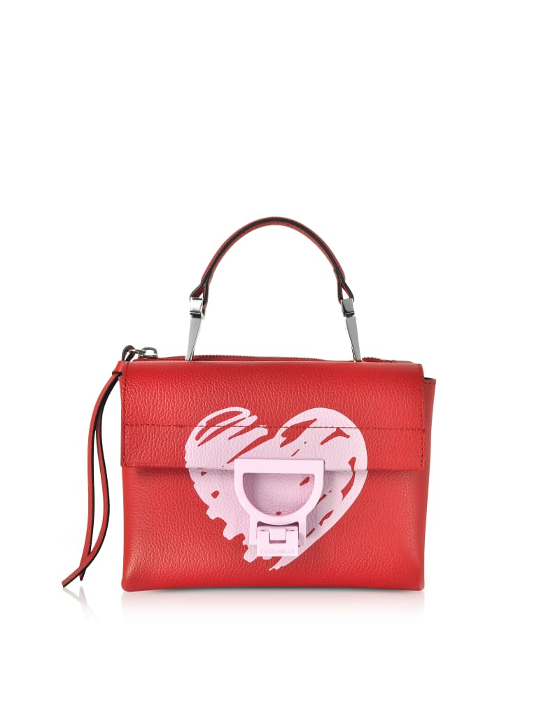 Coccinelle Arlettis San Valentino Leather Shoulder Bag - Poppy Red
