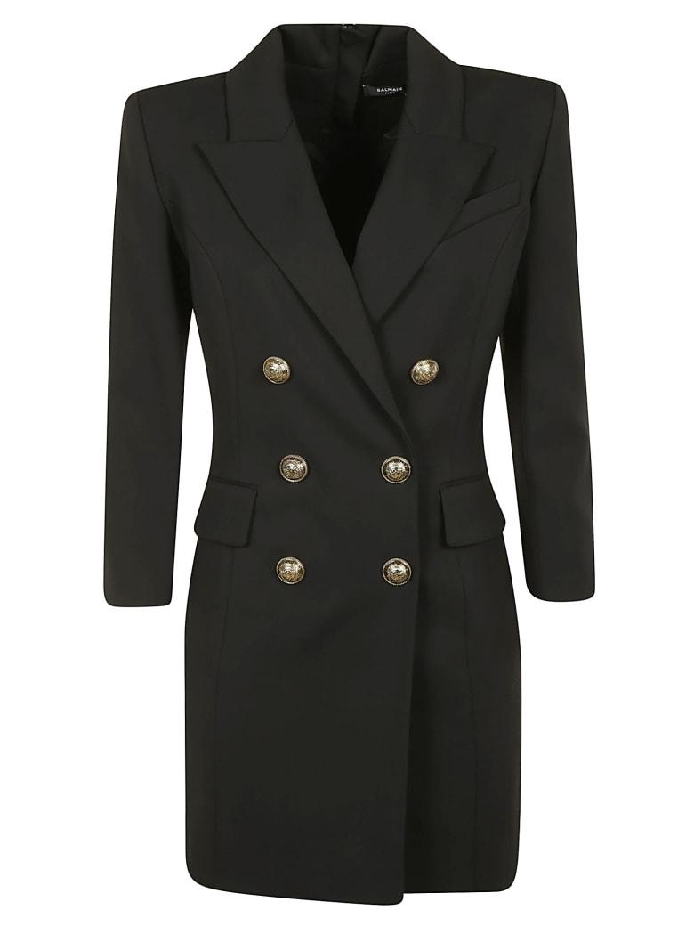 Balmain Rear Zip Double-breasted Dress - Black