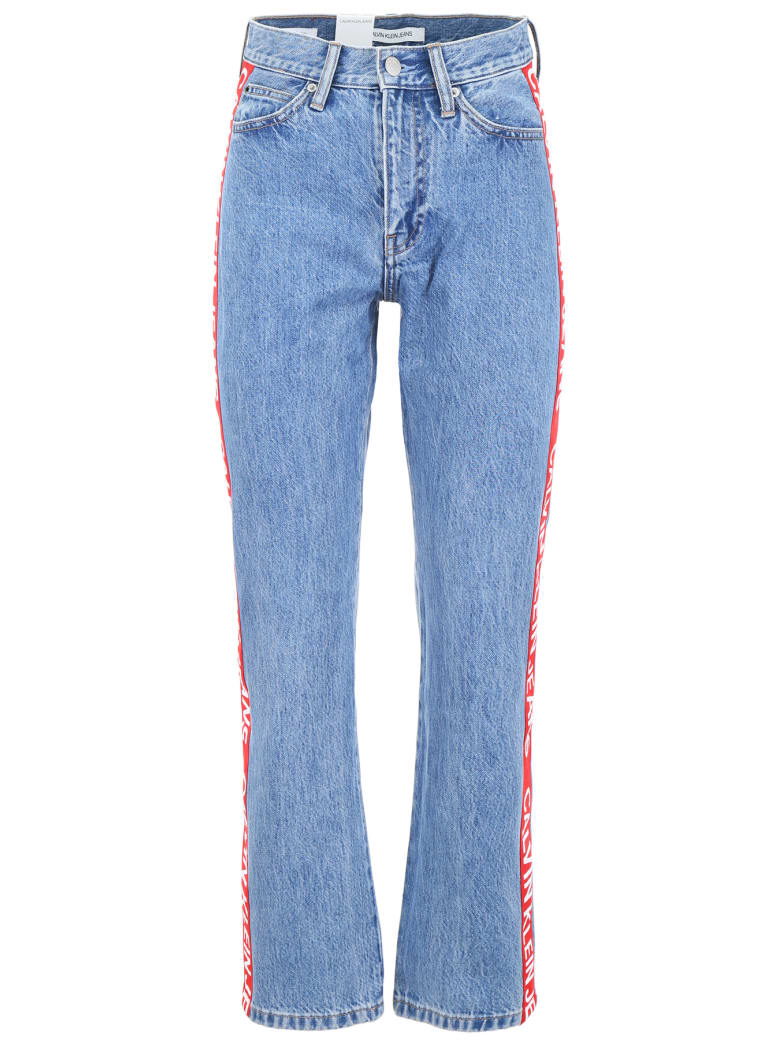 Calvin Klein Jeans Jeans With Logo Band - ICONIC MID STONE SIDE STRIPE (Blue)