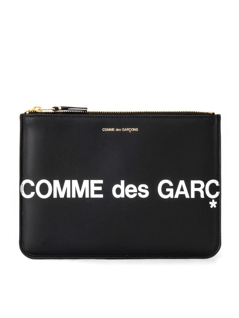 Comme des Garçons Wallet Comme Des Garçons Sachet Wallet Huge Logo In Black Leather - NERO