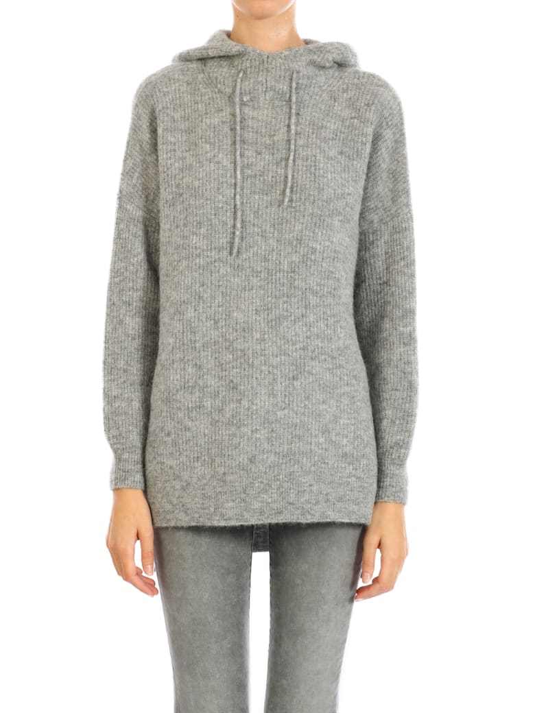 Ganni Gray Wool Knitted Hoodie by Ganni