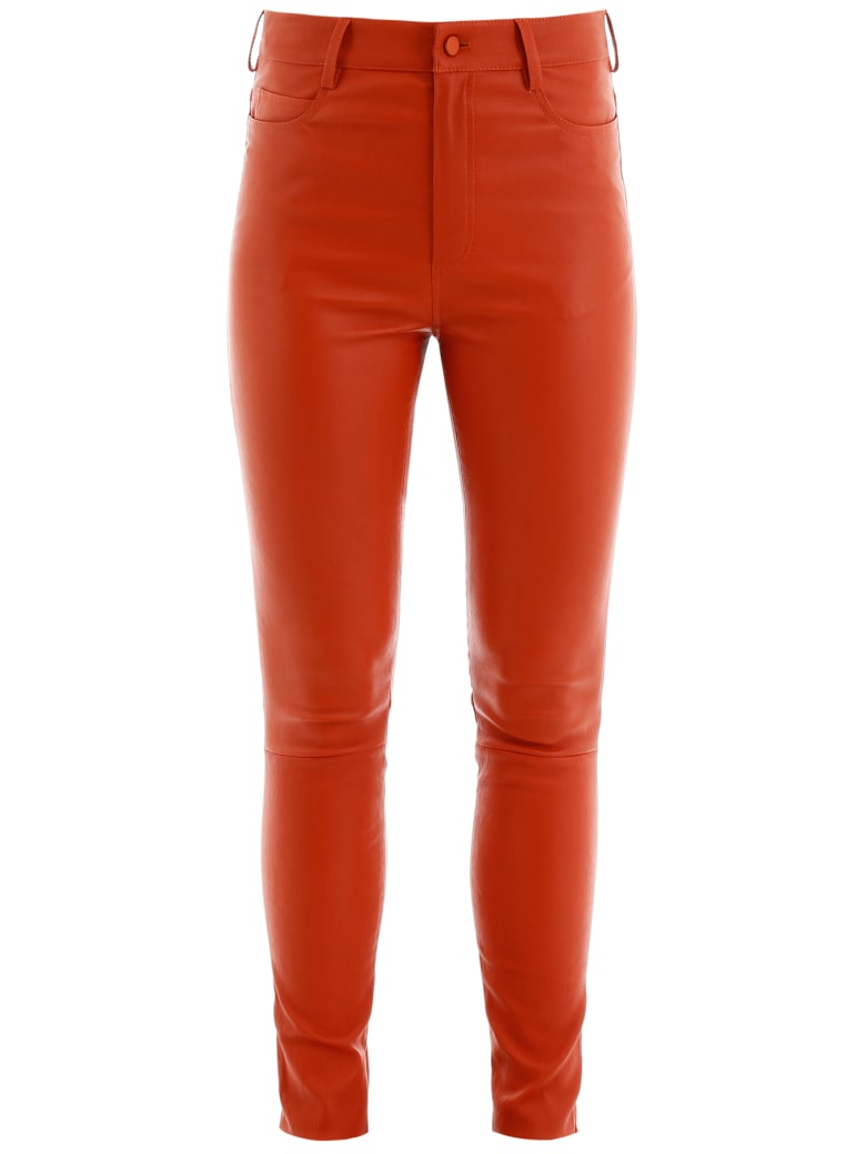 DROMe Stretch Nappa Trousers - FIRE OPAL (Red)