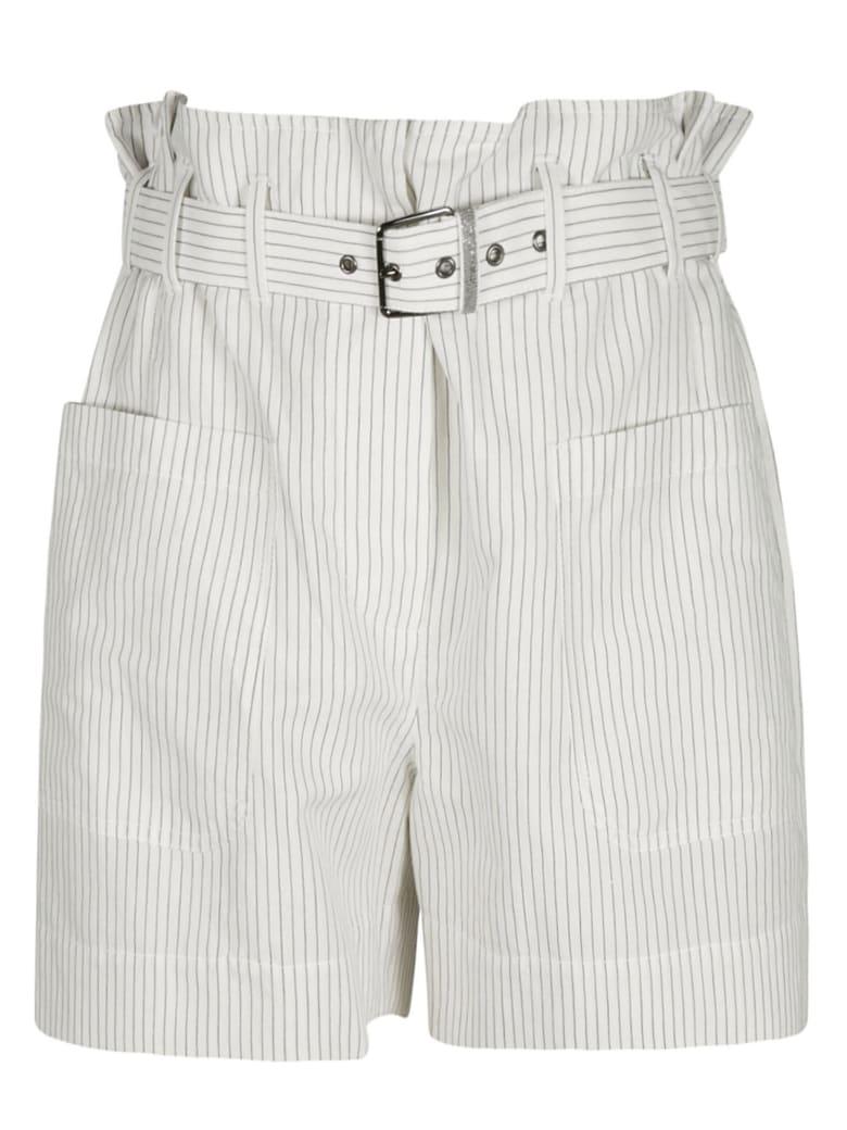 Brunello Cucinelli High Rise Stripe Belted Shorts - Bianco