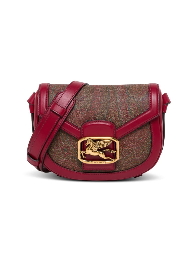 Etro Pegaso Crossbody Bag In Red Leather - Red