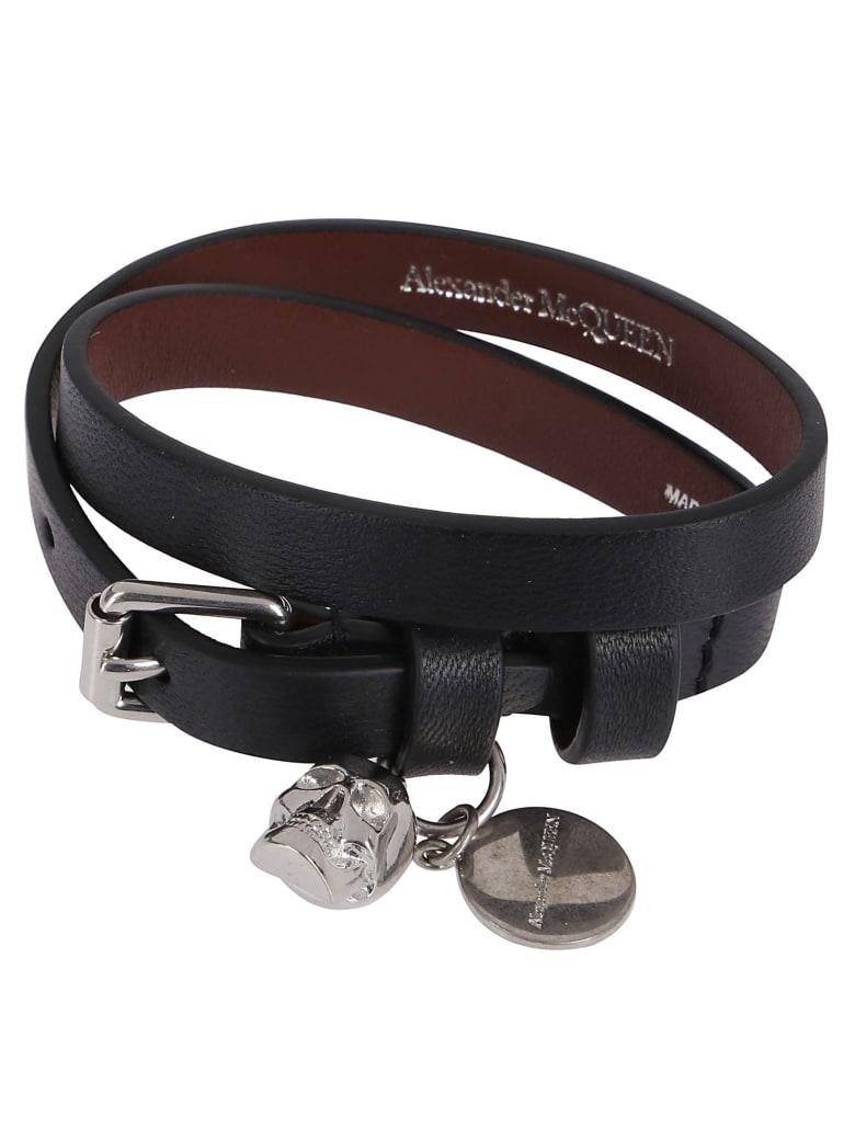 Alexander McQueen Black Leather Bracelet - Black