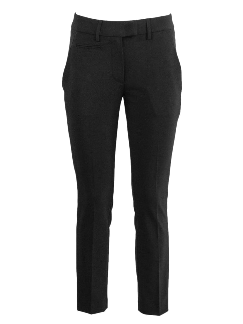 Dondup Black Virgin Wool Blend Trousers - Nero