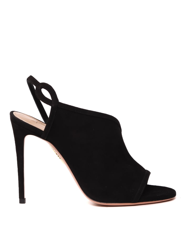 Aquazzura Black Suede Asymmetric Sandals - Black