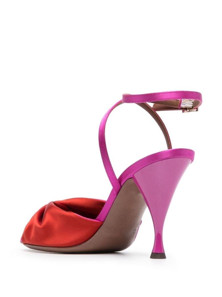 L'Autre Chose Bicolor Satin Sandals - Fuxia