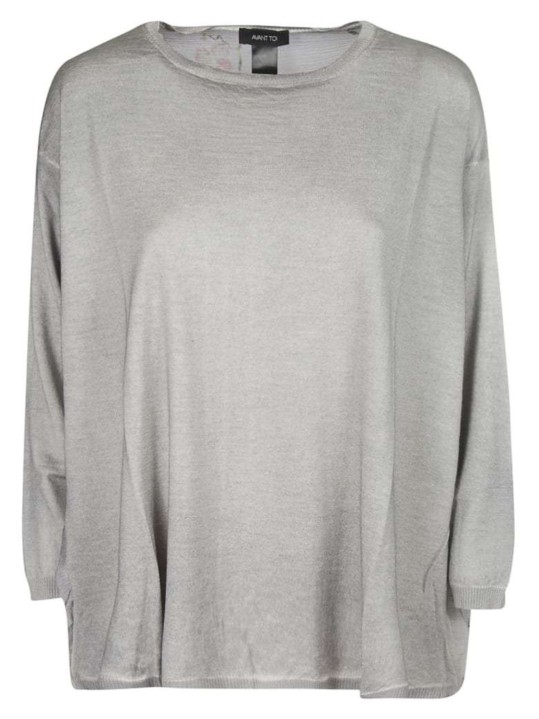 Avant Toi Oversized Floral Print Sweater - Grey