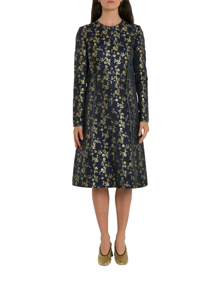 Marni Metallic Floral-jacquard Dress - Blu