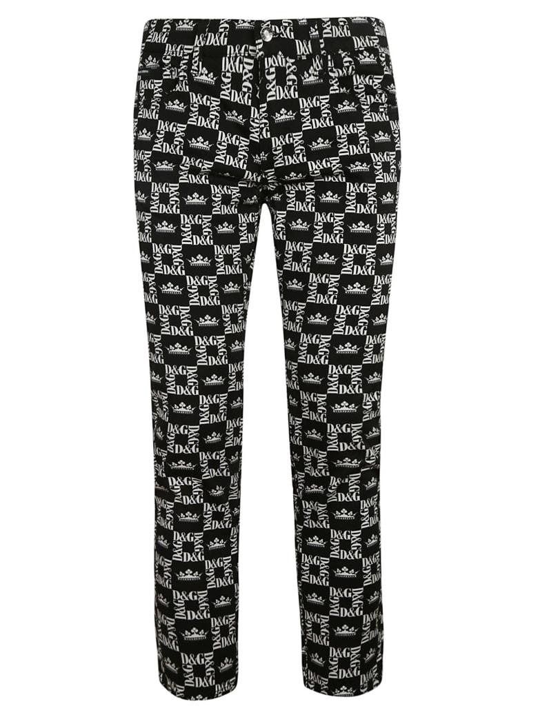 Dolce & Gabbana Square Logo Motif Trousers - white black