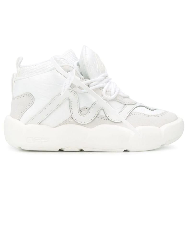 Off-White High Top White Leather Sneaker - Bianco